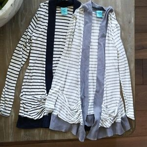 Blue and gray cardigans